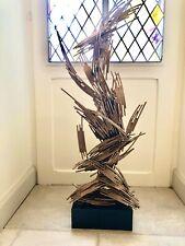 Sculpture Abstraite Acier Inoxydable,or Rose, Et Platine Plaqué