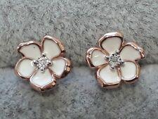 Diamond Solitaire Stud Earrings Sterling Silver Flower Floral Enamelled Design