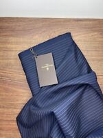 Ermenegildo Zegna cloth 2.3m navy blue pinstrip ( 51%silk & 49%cotton )