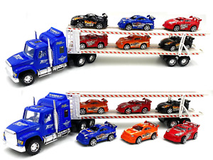 Blue Tow Truck Kids Toy 6 Cars Friction Trailer Wheels Racer Container Drag Fun