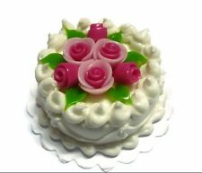 White Round Cake Rose Pink Top Dollhouse Miniatures Food  Valentine Day (3 cm.)