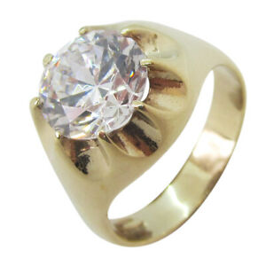 9ct Yellow Gold 2.00ct Cubic Zirconia Gents Solid Large 8 Claw Gypsy Ring