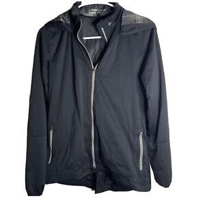 Nike Golf Full Zip Black Plaid Hooded Jacket Windbreaker Women's M 627187-010