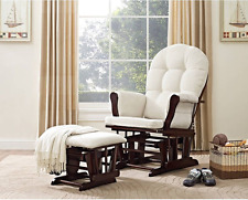 Glider Rocker Nursery Rocking Chair with Ottoman Best Espresso Beige Cushions