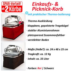 Einkaufskorb THERMO Korb | faltbar & stabil | Picknickkorb Kühl-Korb Klapp-Korb