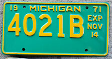1971 Yellow on Turquoise Michigan ½ Year Heavy Truck License Plate