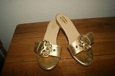 New Elegant Nicole Griffin Gold  Rhinestone Slide  Sandals 6 Medium 37