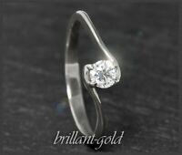 Diamant Brillant 585 Gold Damen Ring 0,30ct, 14 Karat Weißgold Verlobungsring