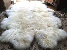 COUVERTURE DE FOURRURE PEAU MOUTON 4 Blanc Nature Tapis en pour cheminée