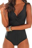 One Piece Swimwear Plus Size 12 14 16 18 20 Classic Black Bathers Swimsuit