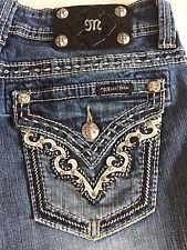 Miss Me Jeans Sz 28X30 Boot Cut JW5675B2 Leather V Flap Pocket Distressed