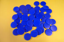 plastic counters - 100 blue plastic counters - 25mm dia - FREE POSTAGE