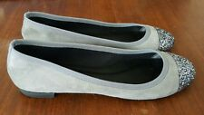 J Crew Gray Suede Ballet Flats Sparkle Toe Slip On Casual Shoes Womens 7.5