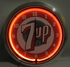 "7Up 7 Up Soda Fountain Neon clock sign 15"" kitchen wall lamp light art Nos"