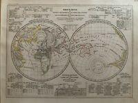 1852 WORLD HEMISPHERES PHYSICAL MAP HAND COLOURED ANTIQUE MAP BY JOSEPH MEYER