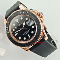 41mm PARNIS black dial Sapphire glass rose gold case automatic mens watch