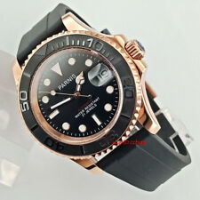 41mm PARNIS black dial Sapphire glass rose gold case miyota automatic mens watch