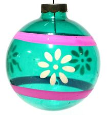 Blue Floral Glass Ball Vintage Hand Blown Christmas Tree Decoration Ornament