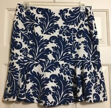 Woman's ECI size 12 blue & white floral skirt with ruffle at bottom