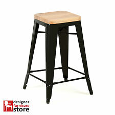 Replica Xavier Pauchard Tolix Metal Stool (66cm) - Oak Wood Seat - Matte Black