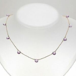 Amethyst Station Necklace 14k Yellow Gold Chain