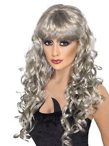 Womens Long Silver/Gray Wig Wavy Hair Bangs Sexy Curly Costume Hair Halloween
