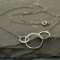 """Simple Minimalist .925 Sterling Silver Triple 3 Circle Necklace Gift Woman 18"""""""
