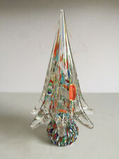 Vintage MURANO Glass Multi Colored CHRISTMAS TREE Sculpture Original Tag 8.5""