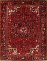 Vintage Geometric Long-wearing Heriz Oriental Hand-Knotted 10'x13' Red Area Rug