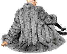 L XL Blaufuchs grau blau fox fur jacket renard Felljacke Fuchs Pelzjacke gefärbt