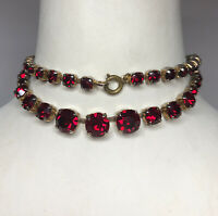 1950s Red Glass Necklace Vintage Link Spring Clip Paste Jewellery Jewelry Retro