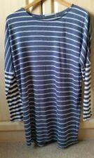 Ladies Nautical Blue Grey Striped Long Sleeved Light Top