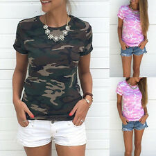 Women Short Sleeve camouflage Shirt Casual Blouse Tops lady Camo T Shirt S-XL