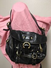 FRANCESCO BIASIA BLACK LEATHER SATCHEL HANDBAG Suede Interior W Bag