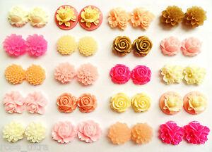 Pink Flower Earrings Clip On Studs Posts Vintage Rose Bridesmaids Girls Cute Ear