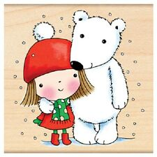 PENNY BLACK RUBBER STAMPS MIMI WITH POLAR BEAR NEW 2012 STAMP
