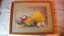 vintage still life,original water color painting,melon,purple onion,squash