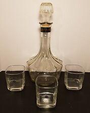 Vintage Jack Daniels Decanter Bottle Old No. 7 Rare with 3 Old No7 Glasses