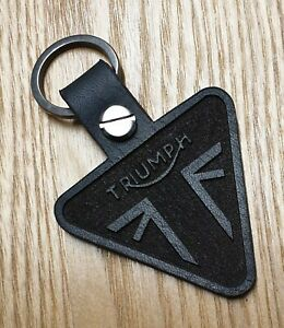 Triumph leather motorcycle keyring. Made with 3mm Italian Leather