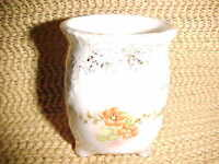 Vintage Ceramic Toothpick Holder With Flowers And Gold Trim SIGNED 1970