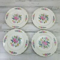 4 Vintage Canonsburg Pottery Keystone Indian Rose Floral Dinner Plates USA HTF