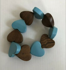 ASOS: Beach elasticated Wooden Heart Bracelet - Brown & Blue