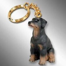Doberman Pinscher Black UnCropped Dog Tiny One Resin Keychain Key Chain Ring