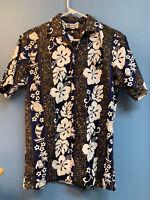 Floral Aloha Republic Vint 90s Hawaiian Shirt Made in USA Men's Sz Small M57