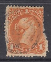 "Canada ""5 Hamilton Cancel"" Scott #23 1 cent yellow orange ""Large Queen"" filler"
