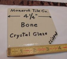 """1 pc. *Bone* Clipped Ceramic Tile  4-1/4""""  *Crystal Glazed* by Monarch Co.  NOS"""