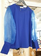 Electric Blue Puff Sleeve Organza Top One Size Fits 8-12 BNWT