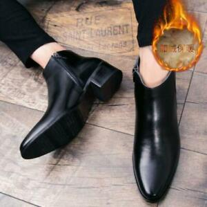 Mens Ankle Leather Boots High Top Pointed Toe Zip Cuban Heel Dress Formal Shoes