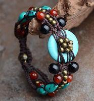 ECHTE STEINE Türkis Achat Karneol Tibet Armband Armkette Boho Ethno  Kupfer 17cm