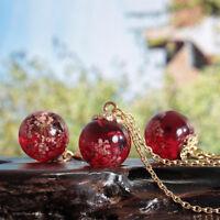 Handmade Dried Lace Flower Glass Ball Pendant Necklace Earrings Jewelery Set
